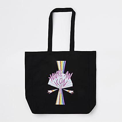 RI x DOM&INK Pride black tote bag