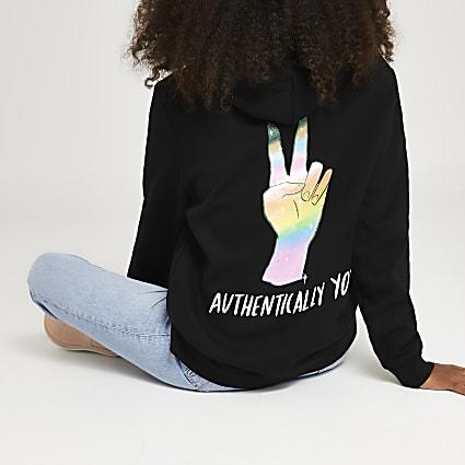 RI x DOM&INK Pride unisex black hoodie