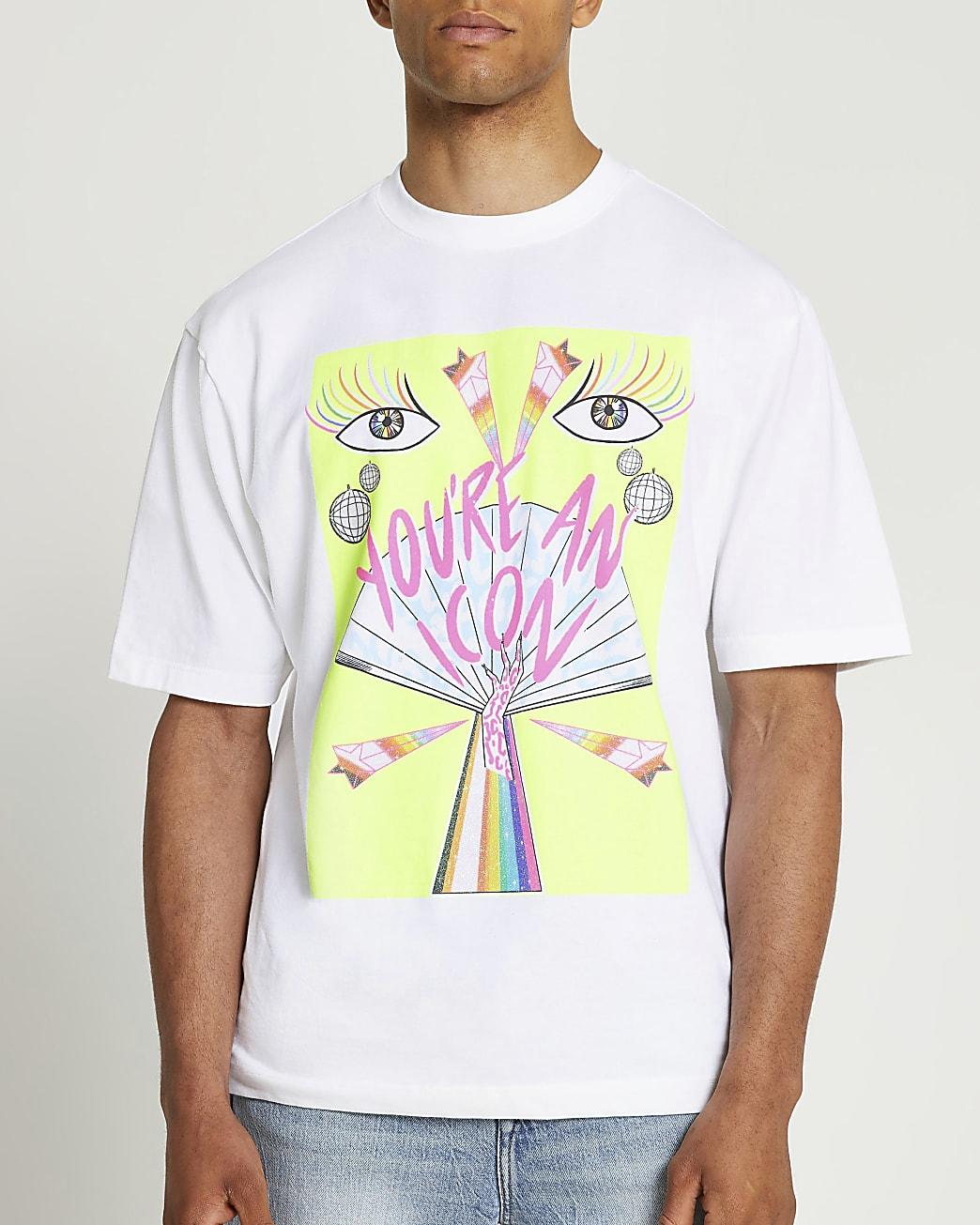 RI x DOM&INK Pride unisex white t-shirt