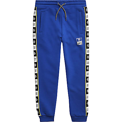 RI x Hype boys blue side tape joggers