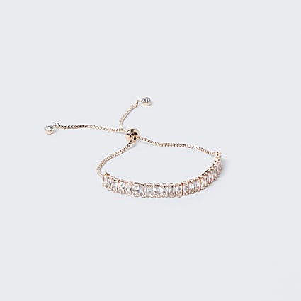 Rose Gold Baguette Toggle Bracelet