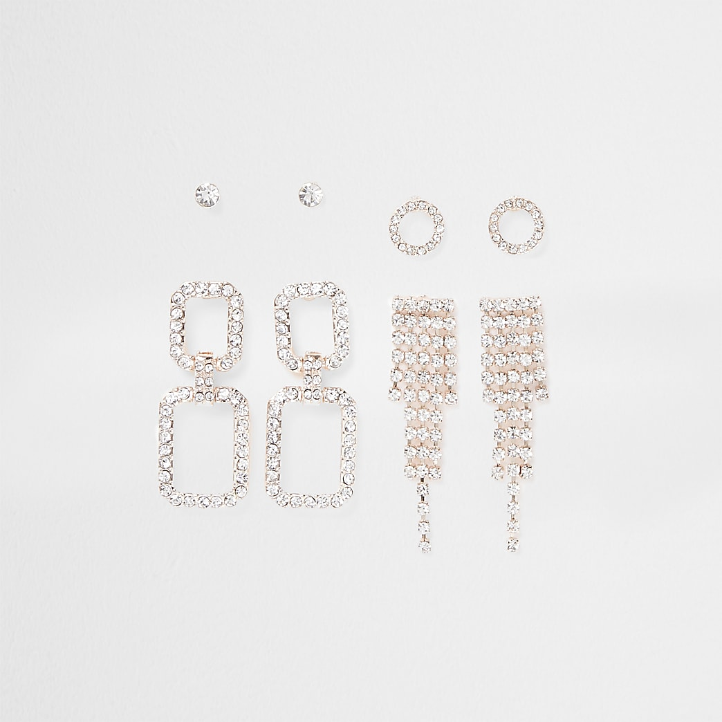 Rose gold bling rectangle earring pack
