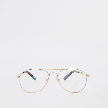 Rose gold blue light lens aviator sunglasses