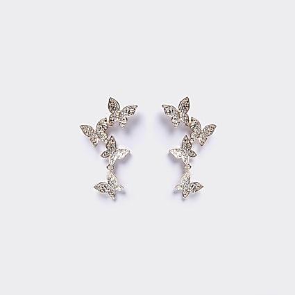 Rose gold butterfly drop earrings