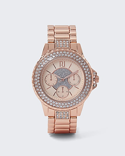 Rose gold chunky diamante embellished watch