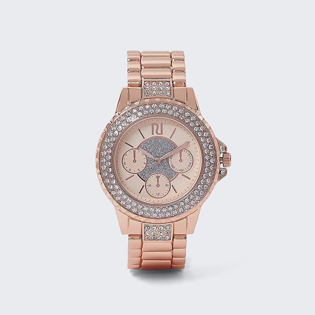 Rose Gold Chunky Strap Crystal Sur Watch