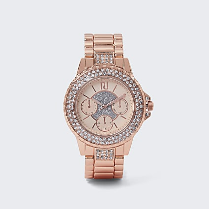 Rose gold chunky strap crystal watch