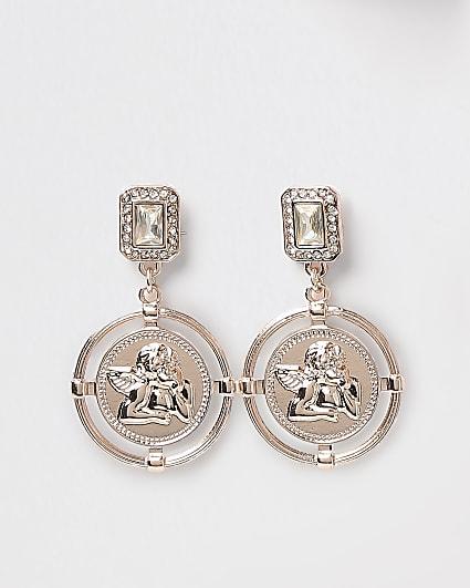 Rose gold coin motif drop earrings