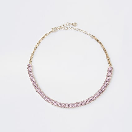 Rose gold colour baguette choker