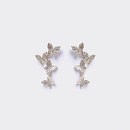 Rose gold colour butterfly drop earrings