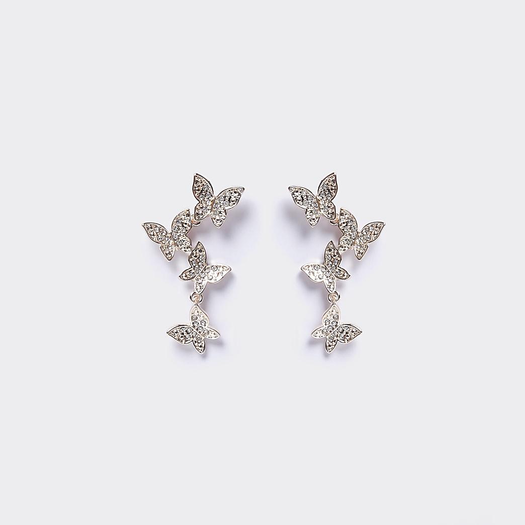 Rose gold colour butterfly drop earrings