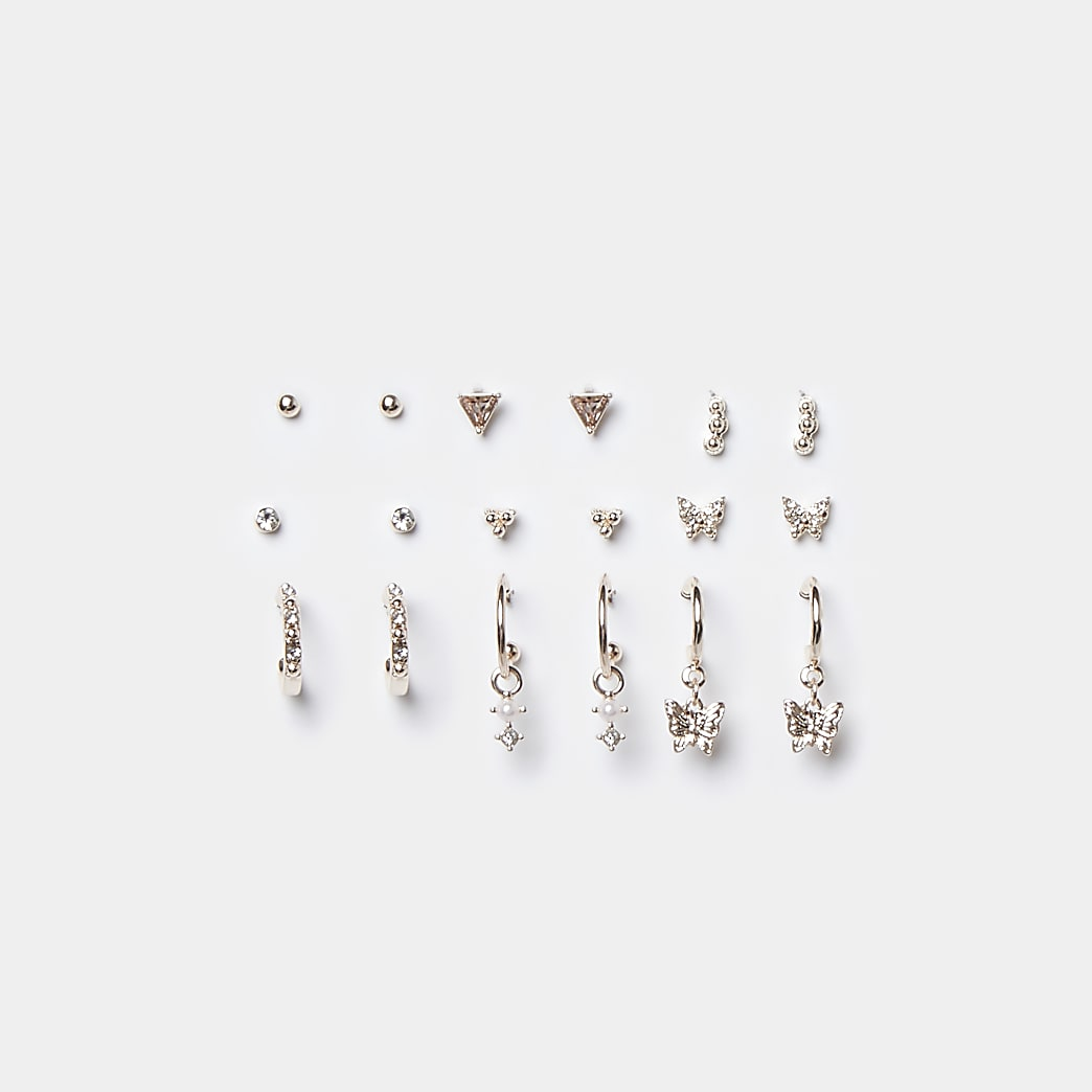 Rose gold colour butterfly earrings 9 pack