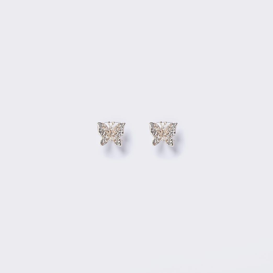 Rose gold colour butterfly stud earrings