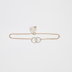 Roségoudkleurige chokerketting met ringen