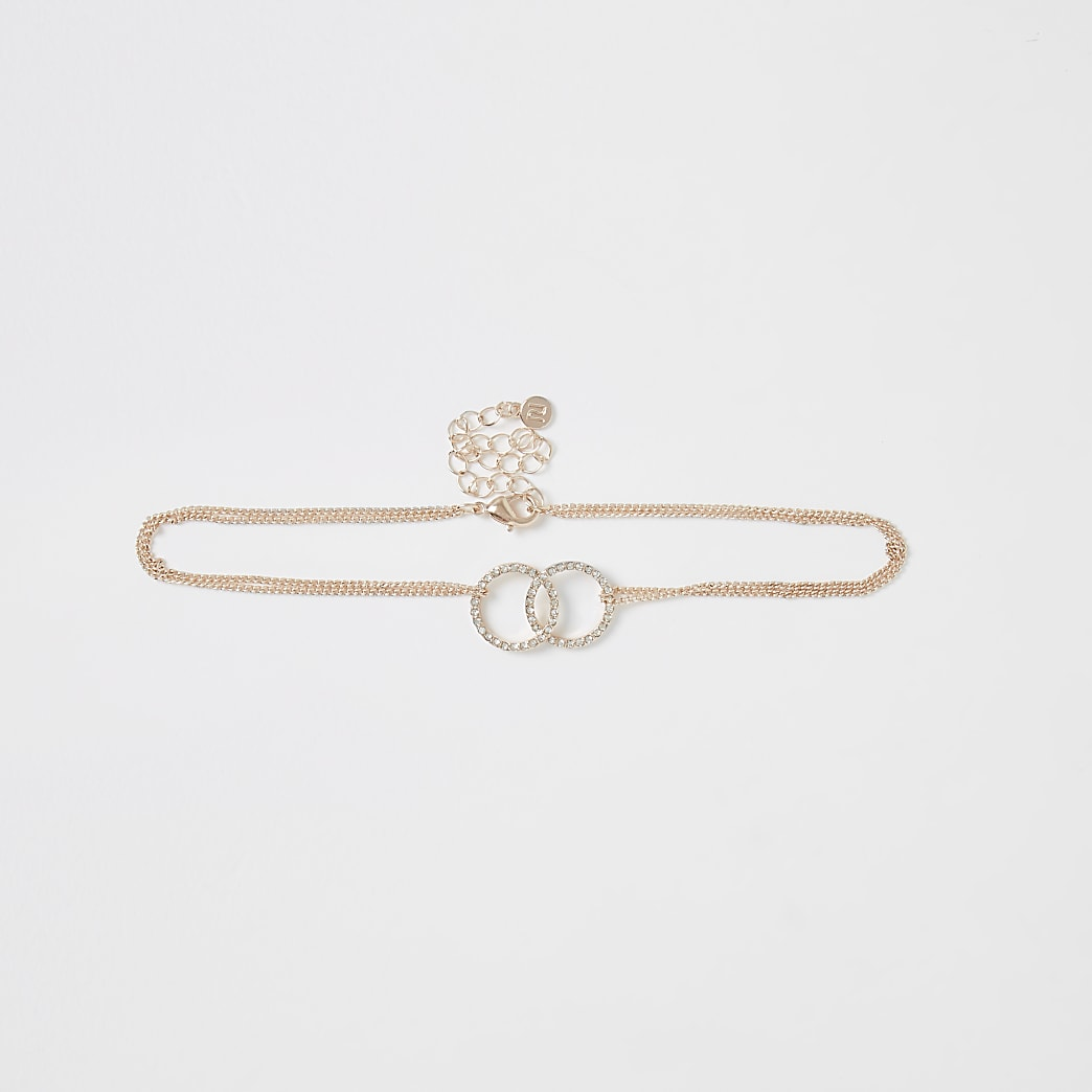 Rose gold colour circle choker necklace