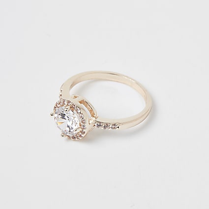 Rose gold colour circle diamante ring