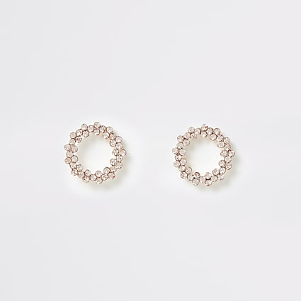 Rose gold colour circle stud earrings