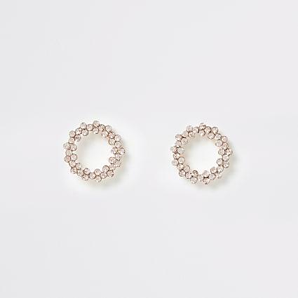 Rose gold colour circle stud earrings