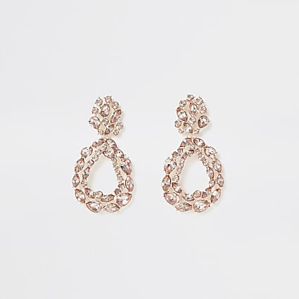 Rose gold colour cluster teardrop earrings