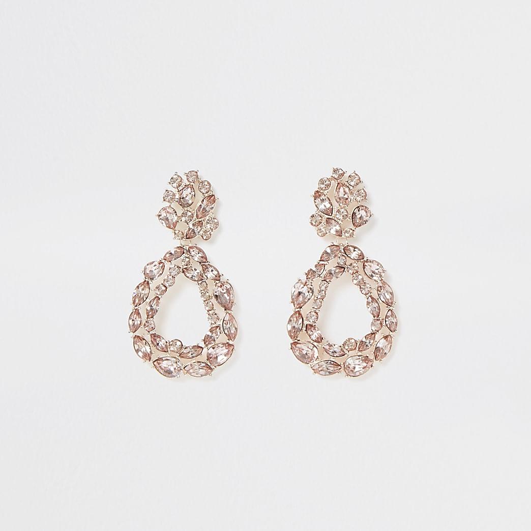 Rose gold colour cluster teardrop earrings