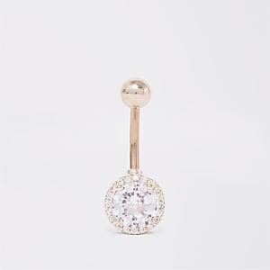 Rose gold colour crystal circle belly bar