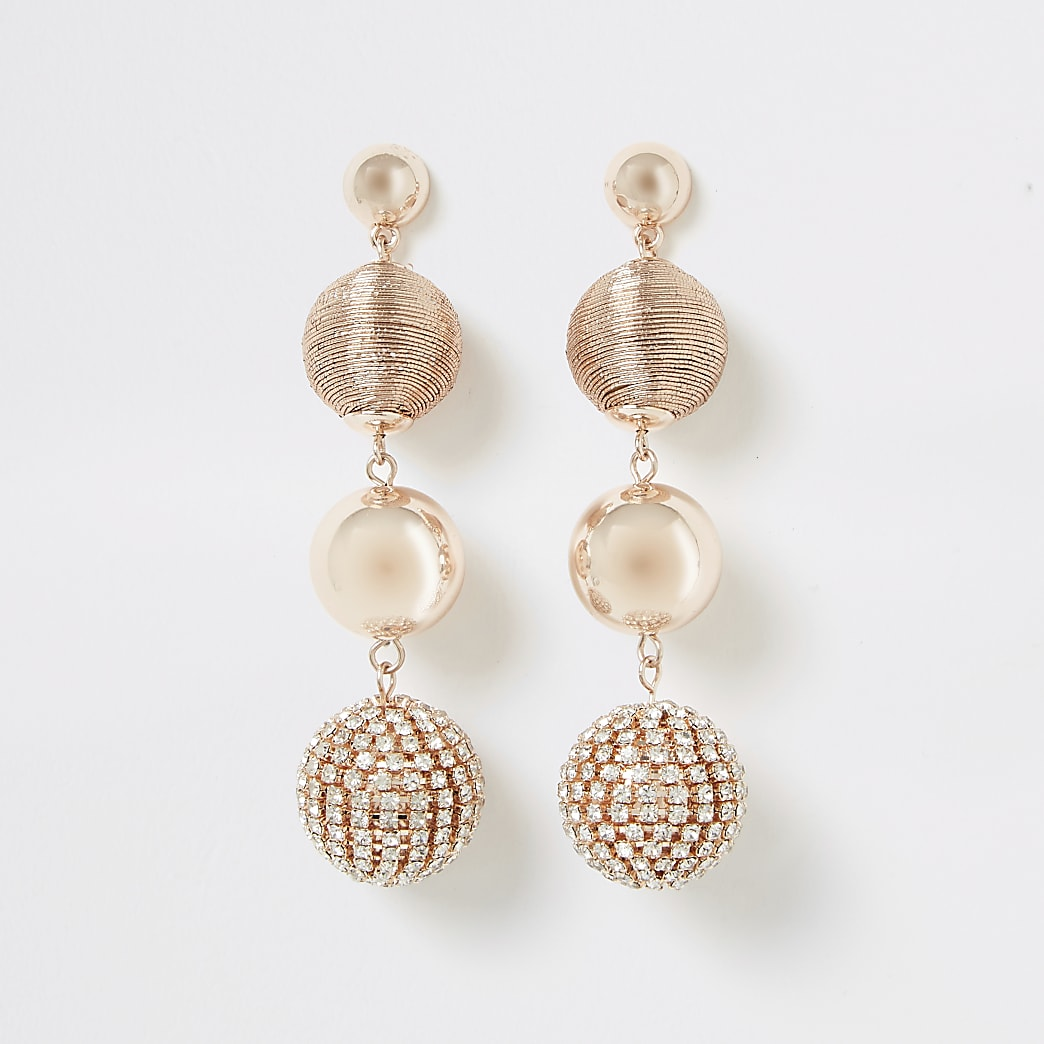 Rose gold colour diamante ball drop earrings