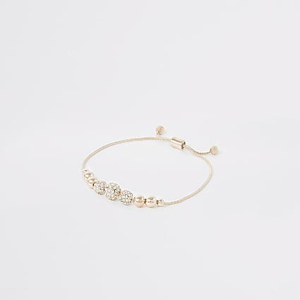 Rose gold colour diamante bead bracelet