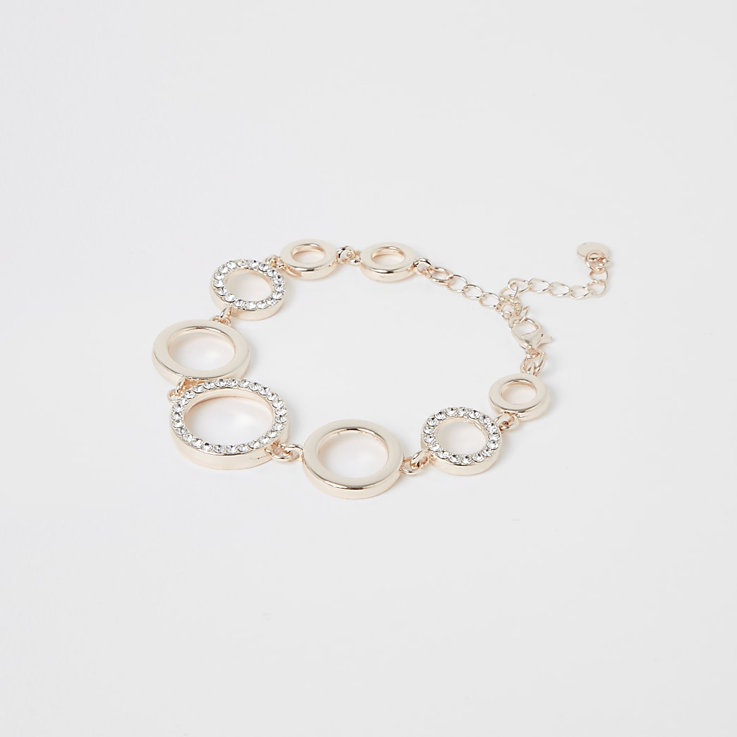 Rose gold colour diamante bracelet