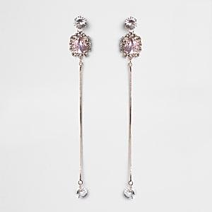 Roségoudkleurige oorhangers met diamantje en ketting