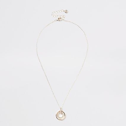 Rose gold colour diamante circle necklace