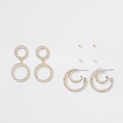 Rose gold colour diamante earring 4 pack