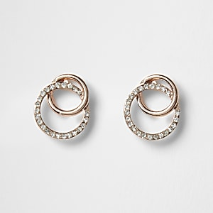 Rose gold colour diamante earrings