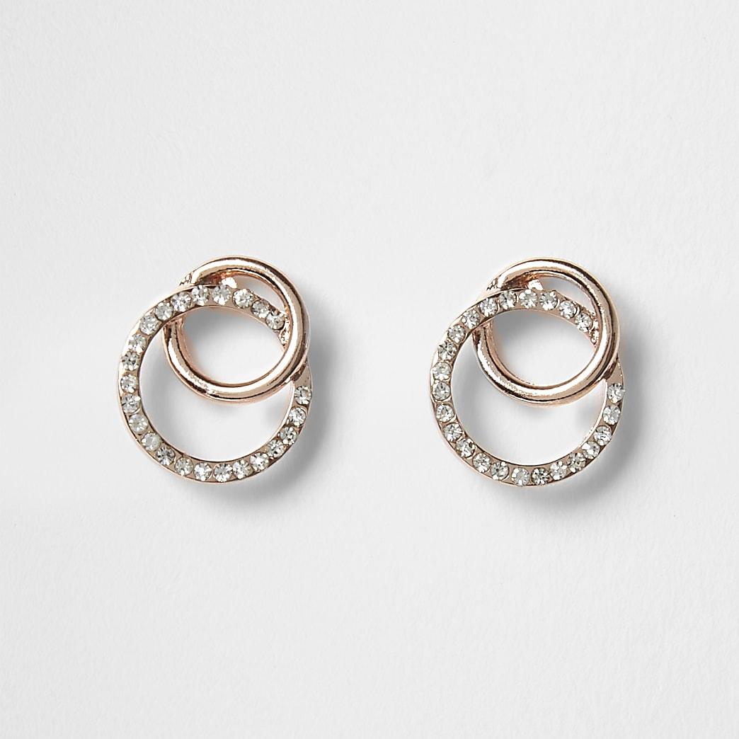 Boucles d'oreilles or roseà strass