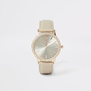 Roze horloge met roségoudkleurige wijzerplaat met diamantjes