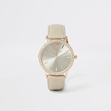 Rose gold colour diamante face watch