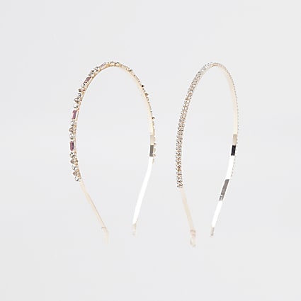 Rose gold colour diamante headband 2 pack