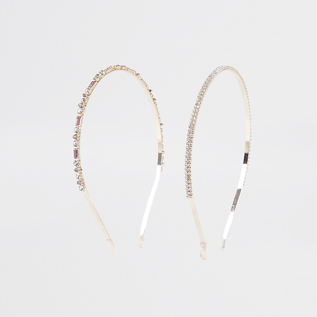 Rose gold colour diamante headband 2 pack