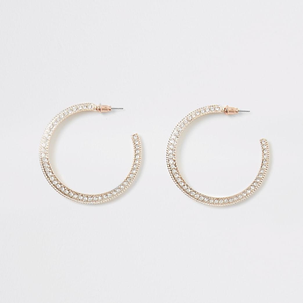 Rose gold colour diamante hoop earrings