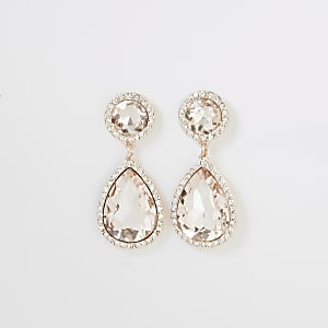 Roségoudkleurige oorhangers met juwelen en siersteentjes