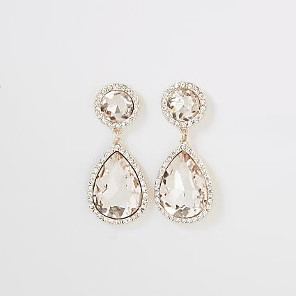 Rose gold colour diamante jewel drop earrings