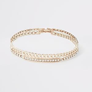 Roségoudkleurige gelaagde armband met siersteentjes