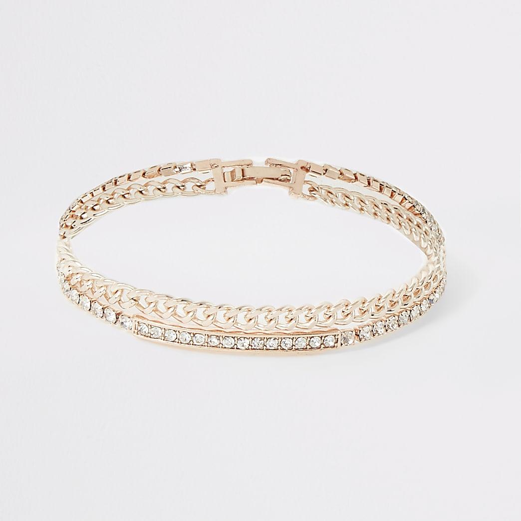 Rose gold colour diamante layered bracelet
