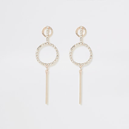 Rose gold colour diamante pave drop earrings