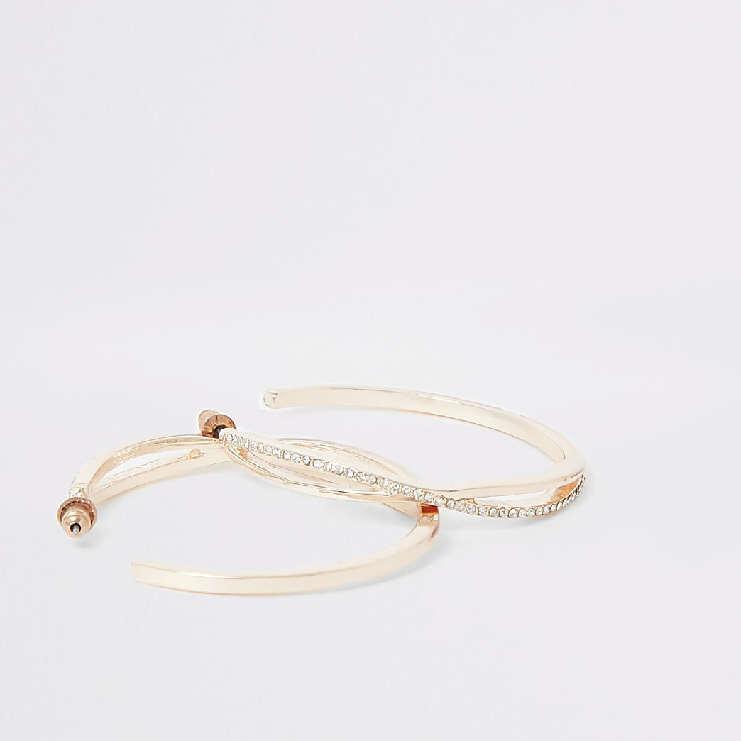 Rose gold colour diamante pave hoop earrings
