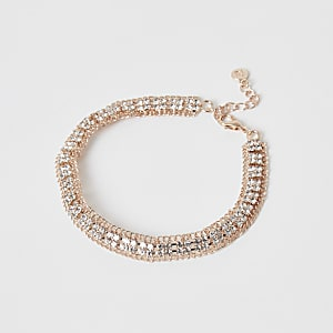 Rose gold colour diamante paved square anklet