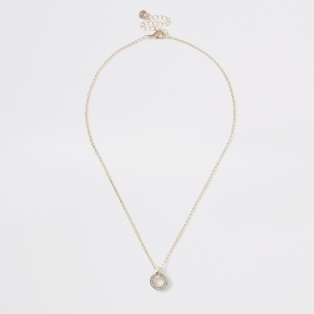 Rose gold colour diamante pendant necklace
