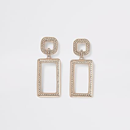 Rose gold colour diamante rectangle earrings