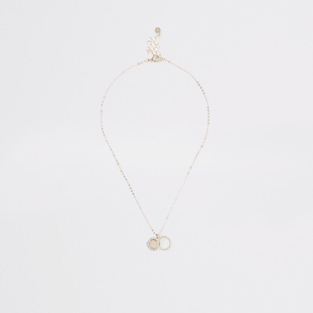 Rose gold colour diamante ring necklace