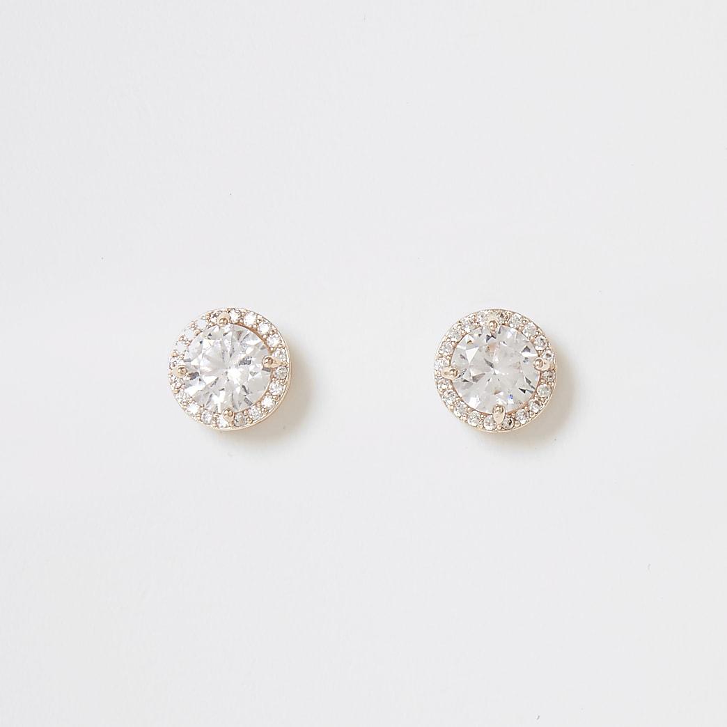 Rose gold colour diamante stud earrings