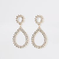 Rose gold colour diamante teardrop earrings